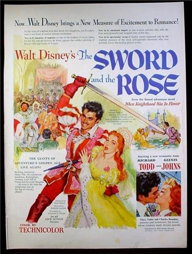 Magazine Ad for Walt Disney's The Sword And The Rose Movie, Poster, 1953