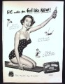 Magazine Ad for RC Royal Crown Cola, Pin-Up Girl with Bottle, 1953