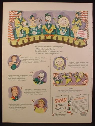 Magazine Ad for Swan Soaps, Minstrel Show, George Withers Illustrations, 1944