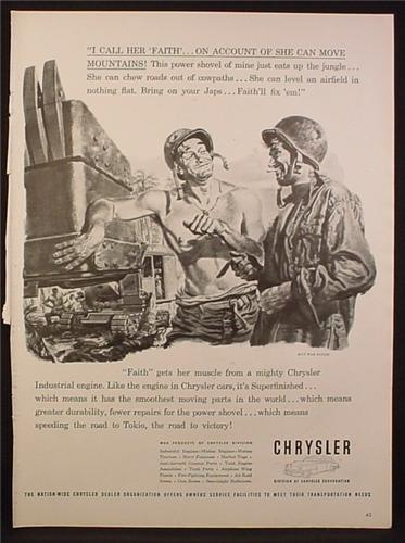 Magazine Ad for Chrysler Industrial Engines, Soldiers With Power Shovel, WWII, 1944