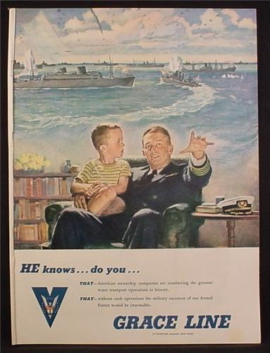 Magazine Ad for Grace Line, Boy On Navy Officer's Lap, Ships In Background, WWII, 1944