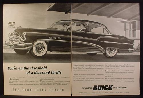 Magazine Ad for Buick Car, Vertical Valve V8, Thousand Thrills, 1953
