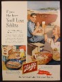 Magazine Ad for Schlitz Beer, Woman with a Man Painting Joy on a Boat, Fish Fry, 1953