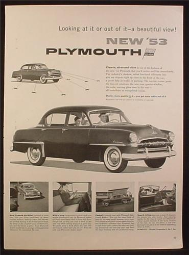 Magazine Ad for 53 Plymouth Cranbrook Car, 4 Door Sedan, 1953