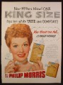 Magazine Ad for Philip Morris Cigarettes, Lucille Ball, Celebrity Endorsement, 1953
