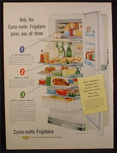 Magazine Ad for Cycla-Matic Frigidaire Fridge, General Motors, Cycla Matic, 1953