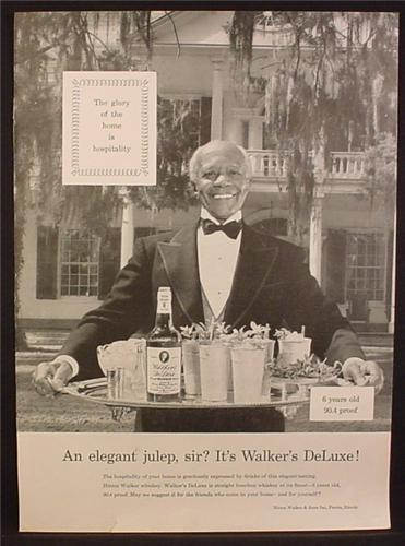 Magazine Ad for Walker's Deluxe Bourbon Whiskey, African American Butler, Plantation, 1953