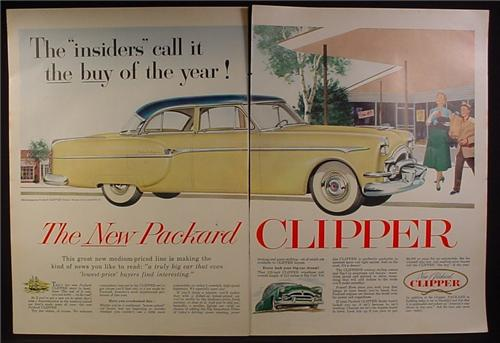 Magazine Ad for Packard Clipper Deluxe Car, Yellow with Blue Roof, 1953, 2 Page Ad