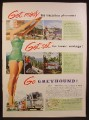 Magazine Ad for Greyhound Bus, Woman in Green Bathing Suit, 1953