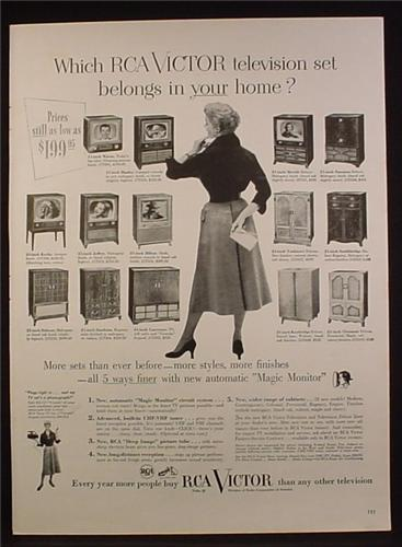 Magazine Ad for RCA Victor Television Sets, 14 Models & Cabinets, 1953