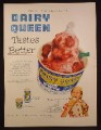 Magazine Ad for Dairy Queen, Strawberry Sundae, Paper Cup, 1953