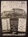 Magazine Ad for Chevrolet Car, 3 Couple Roominess, Eye It, Try It, Buy It, 1941