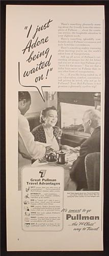 Magazine Ad for Pullman Trains Car, African American Porter, 1941