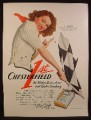 Magazine Ad for Chesterfield Cigarettes, Ellen Drew Girl Of the Month, Checkered Flag, 1941