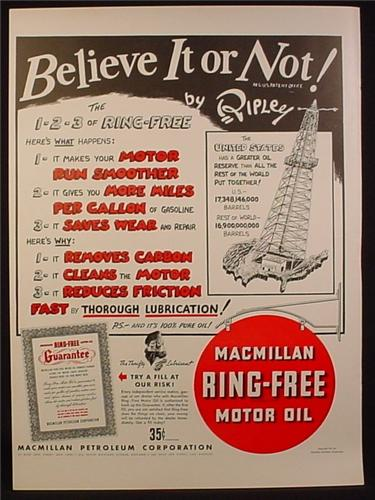 Magazine Ad for MacMillan Ring Free Motor Oil, Ripley Believe It Or Not, 1941