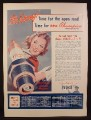 Magazine Ad for Champion Spark Plugs, National Spark Plug Change Week, 1941