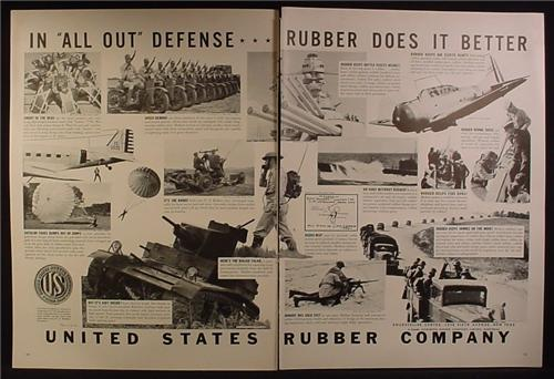 Magazine Ad for United States Rubber Company, All Out Defense, WWII, 1941