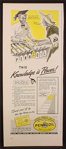 Magazine Ad for Pennzoil, Knowledge is Power, Driving Diploma, 1941