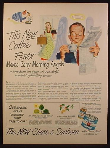 Magazine Ad for Chase & Sanborn Coffee, Can Bottle, Makes Early Morning Angels, 1948