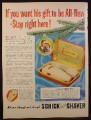 Magazine Ad for Schick Electric Shaver in Case, Christmas Gift, 1948