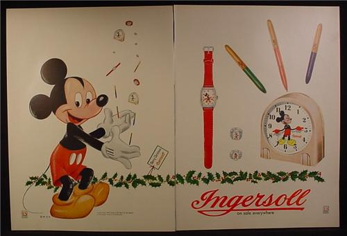 Magazine Ad for Ingersoll, Disney Mickey Mouse Juggling, Watch Pens Clock Rings, 1941