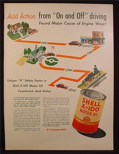 Magazine Ad for Shell X-100 Motor Oil Can, Acid Action Form On And Off Driving, 1948