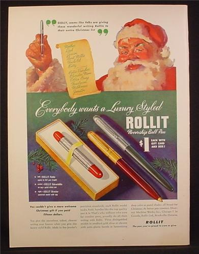 Magazine Ad for Rollit Neverskip Ball Pen, 3 Styles, Petite Retractable Director, 1948