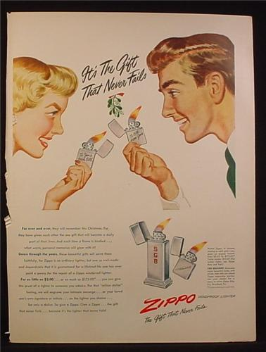 Magazine Ad for Zippo Lighters, Gifts, 2 Models, 1948