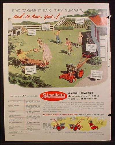 Magazine Ad for Simplicity Garden Tractor, 1953