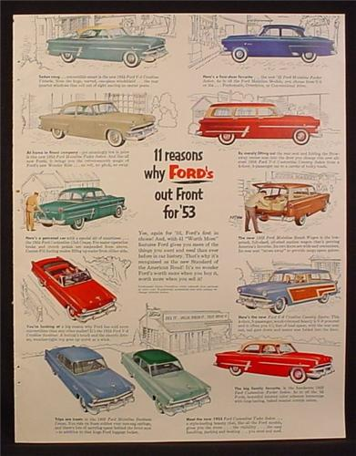 Magazine Ad for Ford Cars, 11 Models, Coupes Wagons Sedans Convertible, 1953