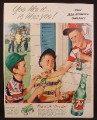 Magazine Ad for 7UP Soft Drink, Case & Bottles, The All Family Drink, Baseball, 1953