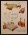Magazine Ad for Heritage Henredon Furniture, Living Room, Bedroom, 1953