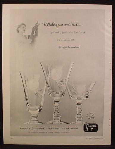Magazine Ad for Fostoria Crystal Rose Pattern Glassware, 1953