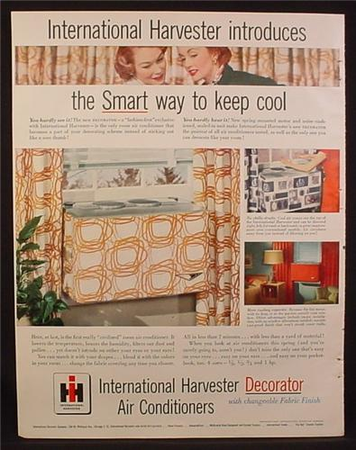 Magazine Ad for International Harvester Decorator Window Air Conditioners, 1953