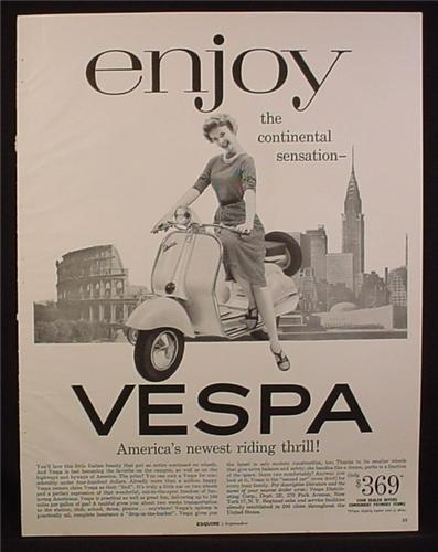Magazine Ad for Vespa Scooter, Woman on Scooter, City Landmarks in Back, 1956