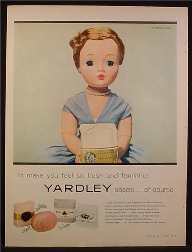 Magazine Ad for Yardley Soaps, Doll in Blue Dress Holding a Bottle, 1956