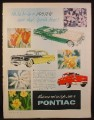 Magazine Ad for Pontiac Cars, 3 Models, Convertible, 1956