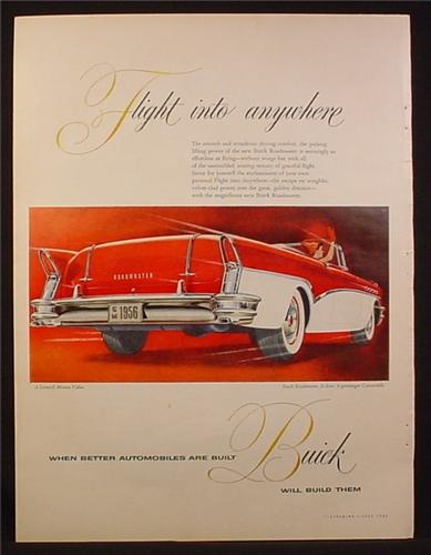 Magazine Ad for Buick Roadmaster Car, White & Red Convertible, Rear View, 1956