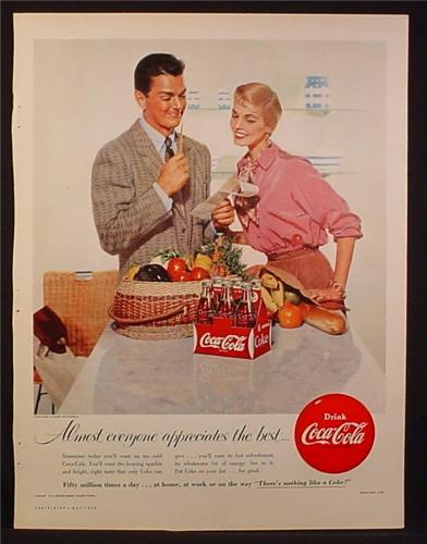 Magazine Ad for Coca-Cola Coke, 6 Bottles in Cardboard Carton, Shopping Trip, 1956