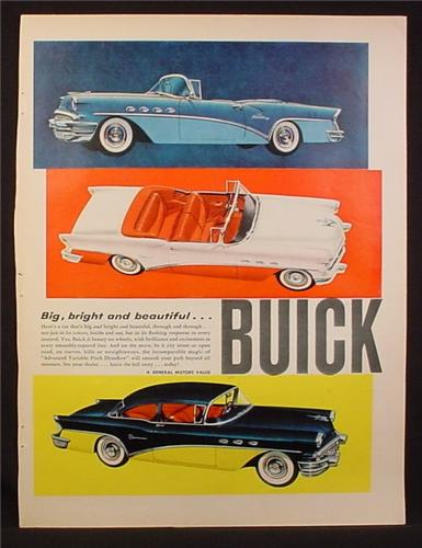 Magazine Ad for Buick Cars, 3 Models, Century, Special, Convertibles, 1956