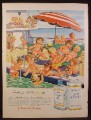 Magazine Ad for Johnston & Johnston Baby Oil & Powder, Babies on Ship with Pool, 1956