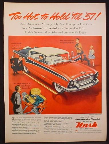 Magazine Ad for 1957 Nash Ambassador Special Car, Red White & Black, 1956