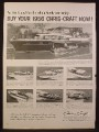 Magazine Ad for Chris-Craft Boats, Constellation Corsair Sportsman Continental, 1956