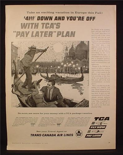 Magazine Ad for TCA Trans Canada Airlines, Pay Later Plan, Trans-Canada, 1957