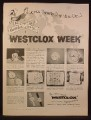 Magazine Ad for Westclox Alarm Clocks, Week Long Sale, Pocket Watches, 1957