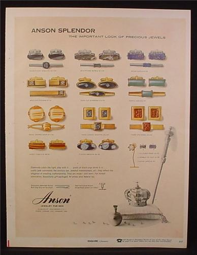 Magazine Ad for Anson Jewelry For Men, Cufflinks, Tie Clips, 1957