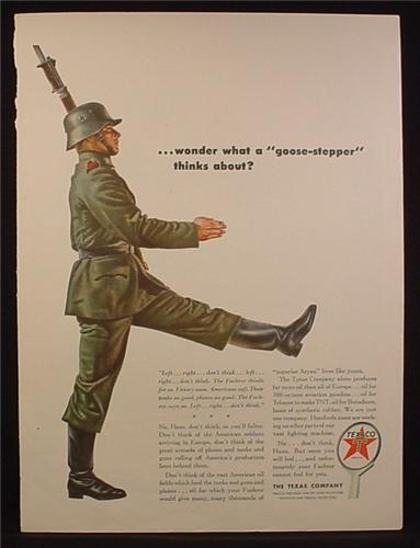 Magazine Ad for Texaco, Wonder What a Goose-Stepper Thinks, WWII, Nazi German Soldier