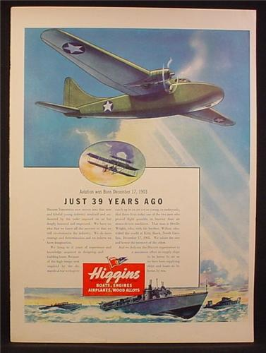 Magazine Ad for Higgins Industries, Boat Builders, WWII, , 1942