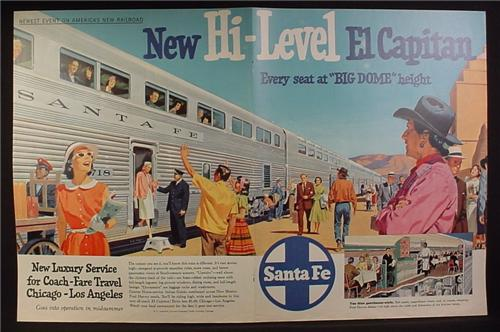 Magazine Ad for Sante Fe Railroad, Hi Level El Capitan Train, 1956