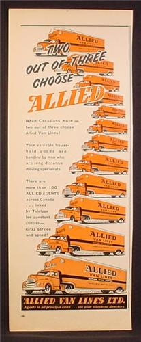 Magazine Ad for Allied Van Lines Nation Wide Moving Company, 1959